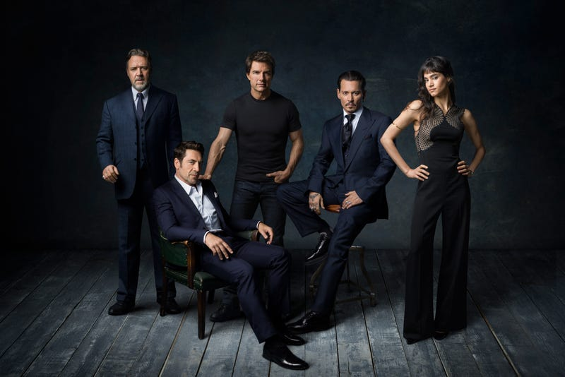 Monsters, incorporated: Russell Crowe (left), Javier Bardem, Tom Cruise, Johnny Depp, and Sofia Boutella (Photo: Marco Grob/Universal Pictures)