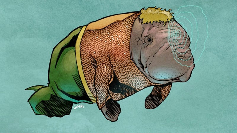 Illustration for article titled No One Laughs at Aquamanatee in This Justice League