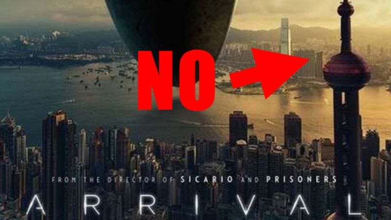 Illustration for article titled Hong Kong reminds the makers of Arrival that it is not Shanghai