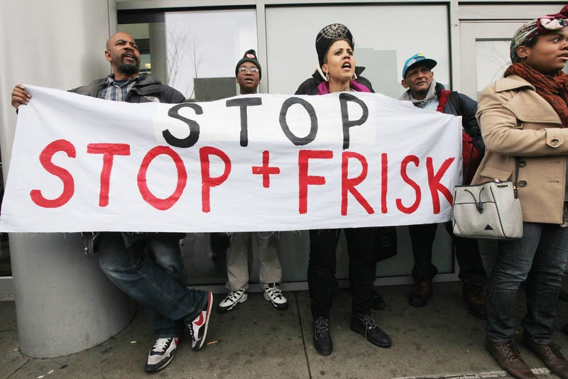 Opponents of the New York Police Department's controversial 'stop-and-frisk' policy rally on January 27, 2012 in the Bronx borough of New York City.