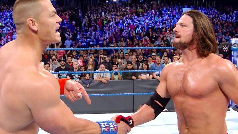 John Cena (left), AJ Styles