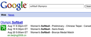 Illustration for article titled Google Search Provides Olympic Event Schedules Inline
