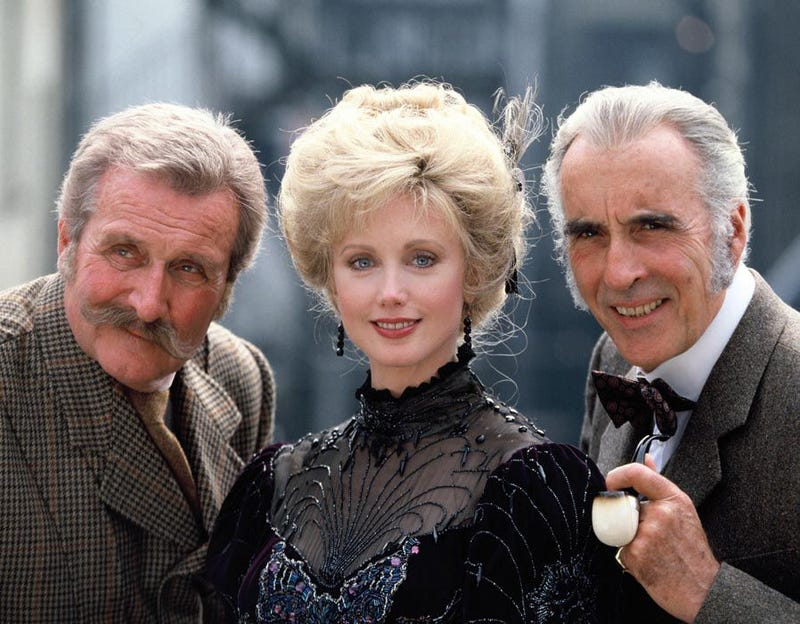 Macnee and Fairchild appeared with Christopher Lee in Sherlock Holmes and the Leading Lady but were tipped for another show before that.