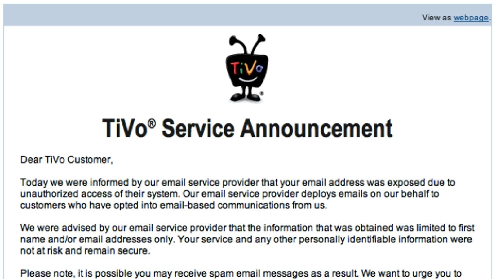 Tivo customer service