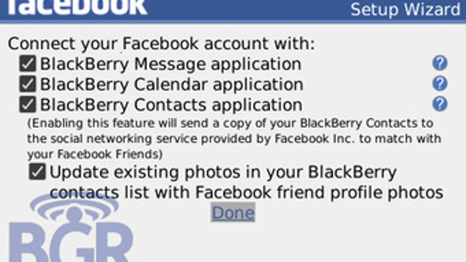 Facebook 1 5 App Offers BlackBerry Message, Contact and
