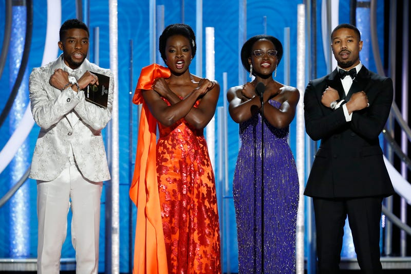 "(l-r) Chadwick Boseman, Danai Gurira, Lupita Nyong'o, and Michael B. Jordan give the ""Wakanda Forever"" salute during the 76th Annual Golden Globe Awards at The Beverly Hilton Hotel on January 6, 2019 in Beverly Hills, California."