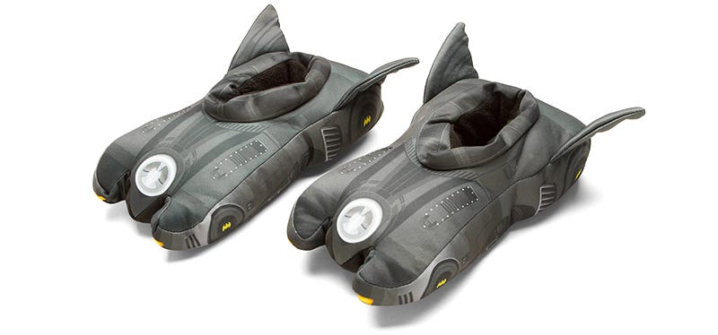 Illustration for article titled Batmobile Slippers Make Those Dark Nights a Little Comfier
