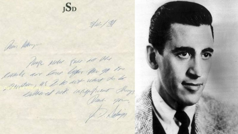Illustration for article titled J.D. Salinger's Note To The Maid On Sale For $50,000