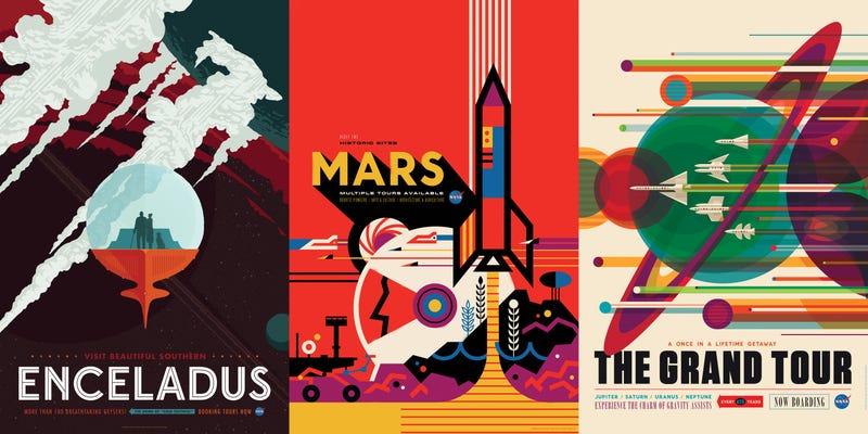 Illustration for article titled Los nuevos carteles de turismo espacial de la NASA son puro arte y ciencia-ficción