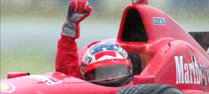 Illustration for article titled Remember Michael Schumacher's Incredible First Win For Ferrari?