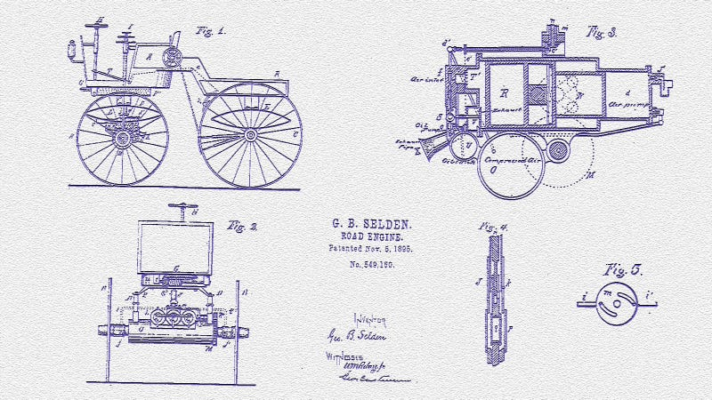 Illustration for article titled The Patent For The Gas-Powered Car Is 118 Years Old Today