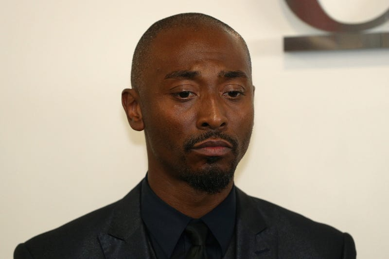 Actor Darris Love at a press conference in Los Angeles on June 12, 2018, to discuss being mistakenly detained by police searching for a burglary suspect.