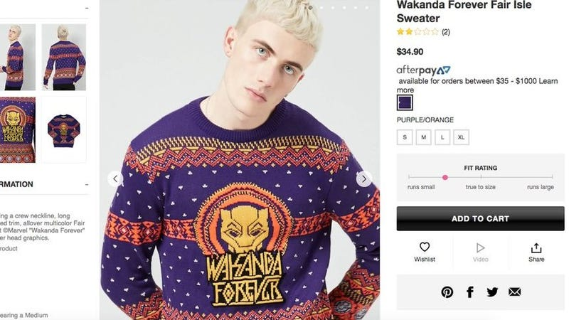 Illustration for article titled Who Fucking Cares If a White Dude Wears a 'Wakanda Forever' Sweater?