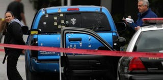 Truck in which Margie Carranza and Emma Hernandez were shot in Torrance, Calif., in February 2013 (KCAL 9 News)