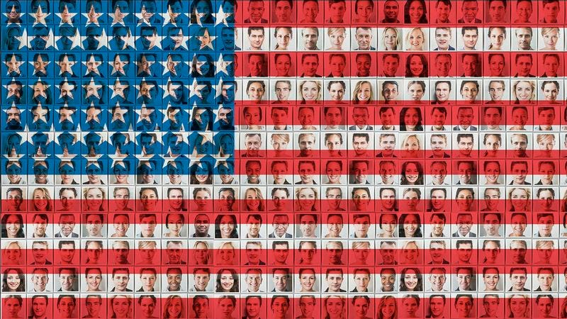 Illustration for article titled Beautiful! These Photos Of Diverse People Can Be Turned Into A Mosaic Of The American Flag Or Any Number Of Images