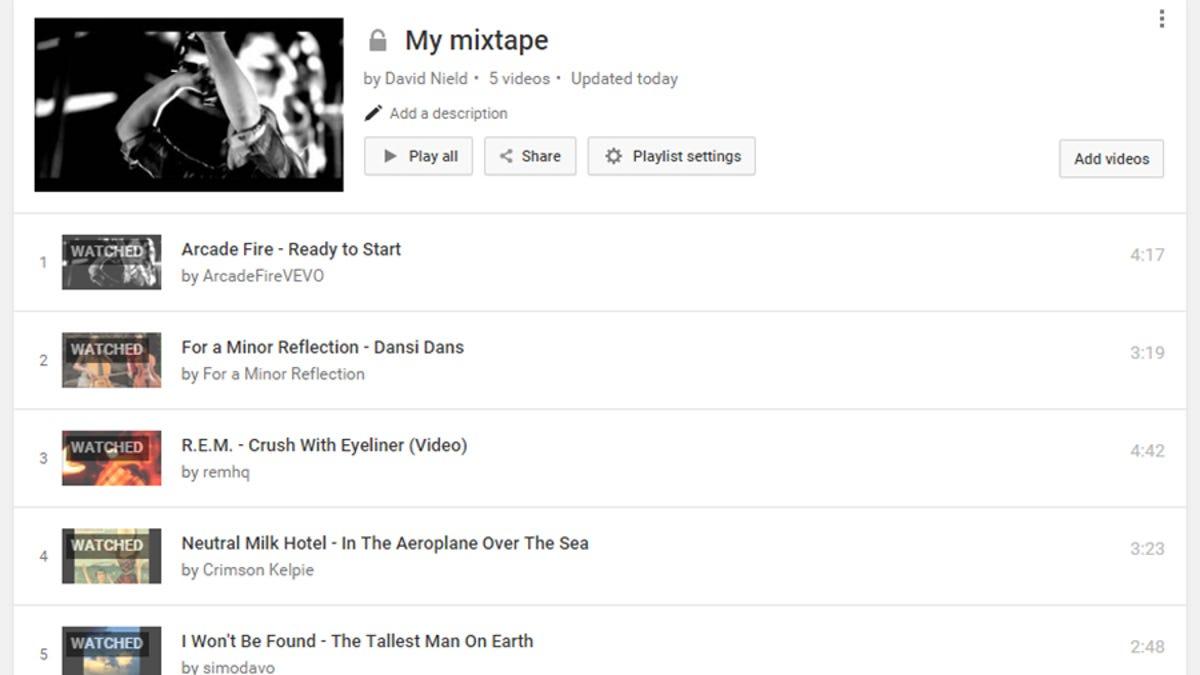 create a youtube playlist as a modern day mixtape