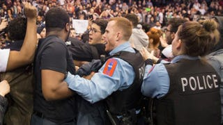 Police break up skirmishes between demonstrators and supporters of Republican presidential candidate Donald Trump that broke out after it was announced a rally at the University of Illinois at Chicago would be postponed on March 11, 2016, in Chicago.Scott Olson/Getty Images