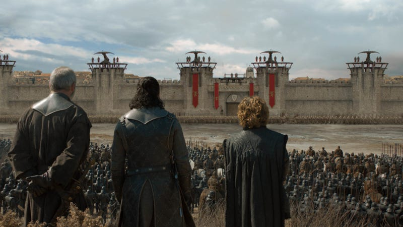 Davos (Liam Cunningham), Jon Snow (Kit Harington), and Tyrion (Peter Dinklage) get ready to see some bleak stuff.