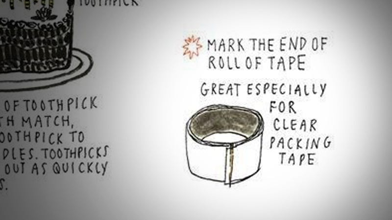 Illustration for article titled Mark the End of a Roll of Tape with a Toothpick for Easier Use