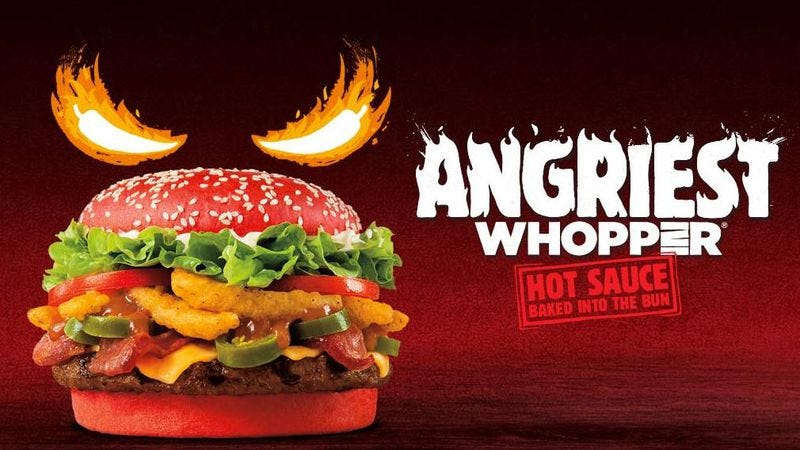 Illustration for article titled Burger King's latest Whopper will make your guts angrier than usual