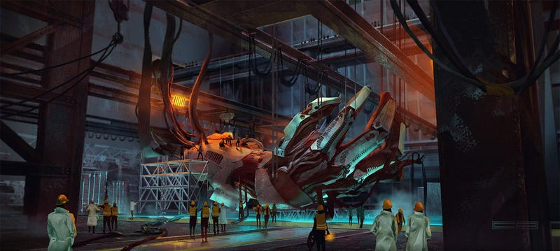 Illustration for article titled Concept Art Writing Prompt: Working On The Giant's Mechanical Hand