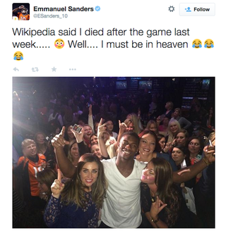 Illustration for article titled Emmanuel Sanders Partied In Heaven With All The Ladies