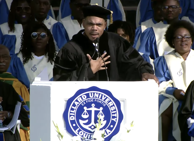Chance the Rapper gives commencement address and receives an honorary doctorate at Dillard University in New Orleans on May 12, 2018.
