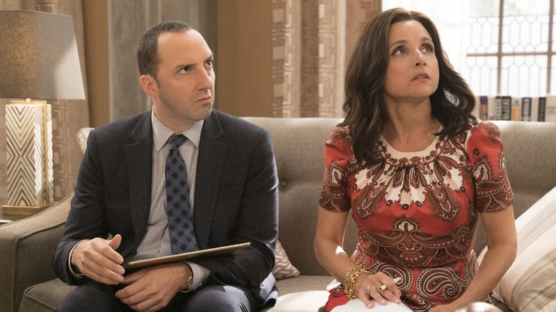 Tony Hale and Julia Louis-Dreyfus star in Veep (Photo: Justin M. Lubin/HBO)