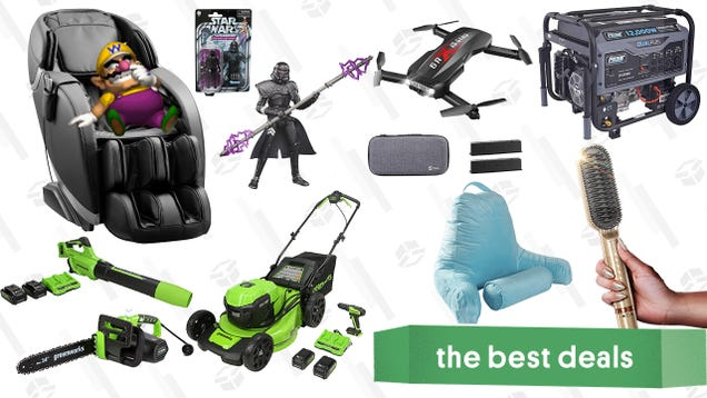 Sunday s Best Deals: Pulsar Heavy-Duty Generator, Insignia Massage Chair, Star Wars Action Figures, Holy Stone Drone, Greenworks Outdoor Power Tools, and More