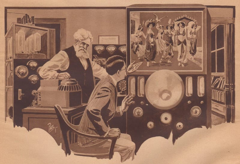 The futuristic TV set of 1922 as imagined in the magazine Science and Invention, drawn by sci-fi illustrator Frank R. Paul (Novak Archive)