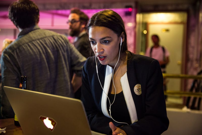 Progressive challenger Alexandria Ocasio-Cortez celebrartes at a victory party in the Bronx after upsetting incumbent Democratic Representative Joseph Crowley on June 26, 2018 in New York City. She'll be joining the U.S. House of Representatives in January.