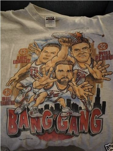 """Illustration for article titled Bill Wennington, Luc Longley, And Will Perdue Were Once Called """"Bang Gang,"""" T-Shirt Alleges"""