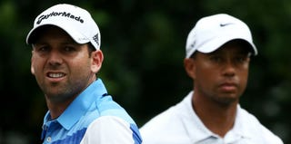 Sergio Garcia and Tiger Woods (Richard Heathcote/Getty Images)