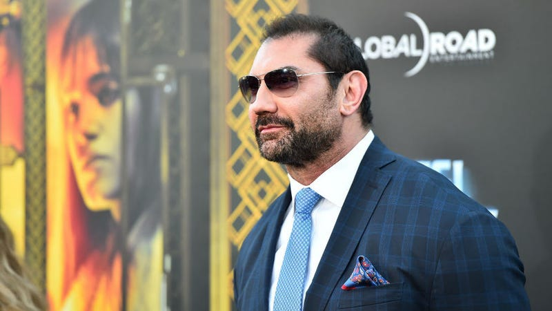 Dave Bautista attends the premiere of Hotel Artemis in Westwood, California.