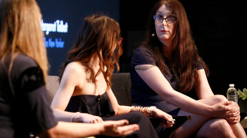 Attorney Carrie Goldberg and Software Engineer and Democratic Candidate for Congress Brianna Wu speak osntage during the 2017 New Yorker TechFest at Cedar Lake on October 6, 2017 in New York City.