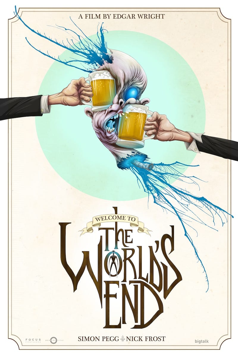 Illustration for article titled Exclusive premiere of Alex Pardee's smashing The World's End poster