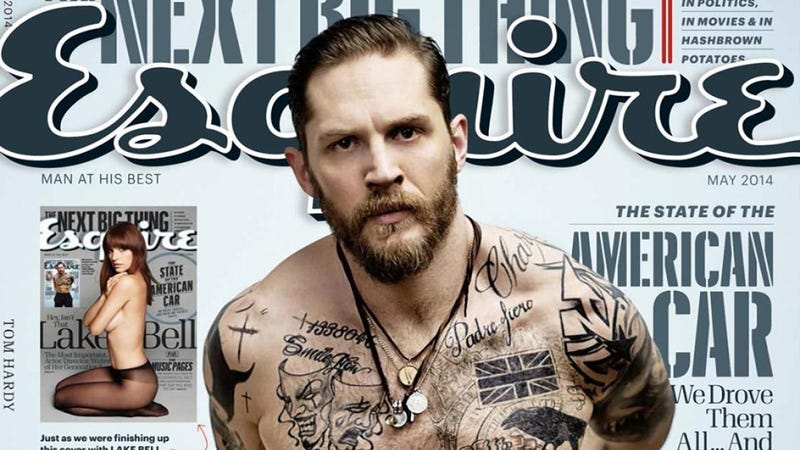 Illustration for article titled Scowling, Shirtless, Tattooed Tom Hardy: 'I Don't Feel Very Manly'