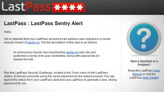 Illustration for article titled LastPass Sentry Warns You When Your Online Accounts Have Been Breached
