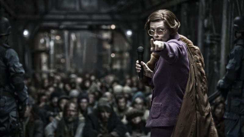 Tilda Swinton points her way to a vague and confusing future in the Snowpiercer film.