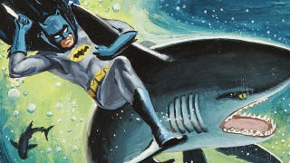 Illustration for article titled The Dark Knight rides a shark in bondage-crazy 1960s Batman art