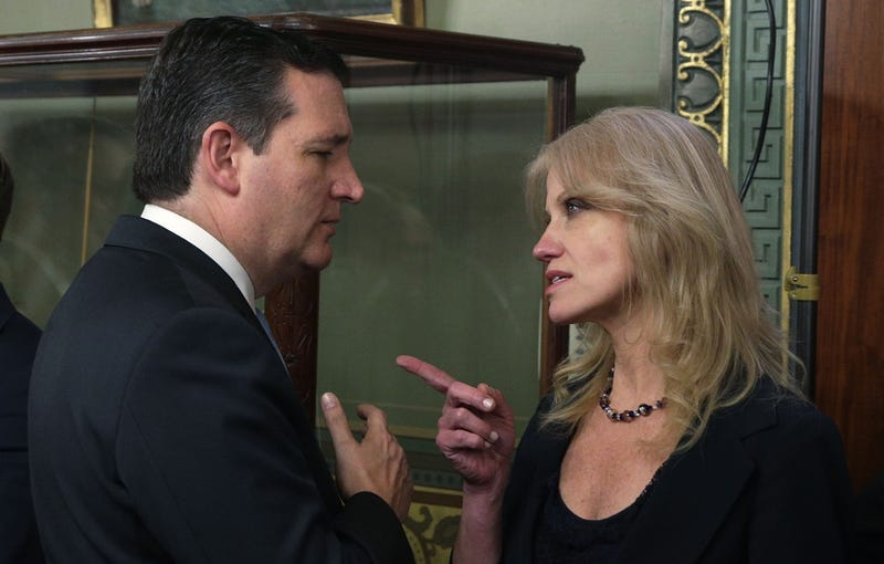 Ted Cruz and Kellyanne Conway appear to have a cordial and not at all confrontational conversation before a swearing-in ceremony for Rick Perry on March 2, 2017 (Photo by Alex Wong/Getty Images)