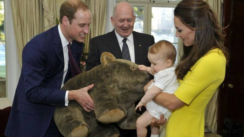 Prince George and family with a baby wombat. (Auspic/Commonwealth of Australia)