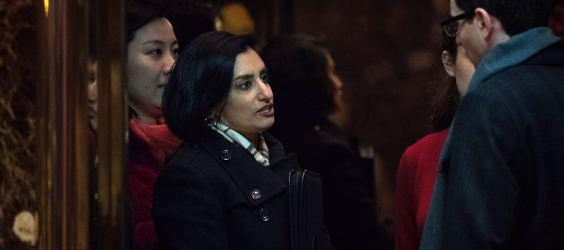 Seema Verma at Trump Tower to meet with then-President-elect Donald Trump on November 22, 2016 (Photo by Drew Angerer/Getty Images)