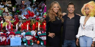 Sandy Hook Memorial (Andrew Burton/Getty); Mariah Carey, Ryan Seacrest and Nicki Minaj (Michael Becker/Fox Broadcasting Co.)
