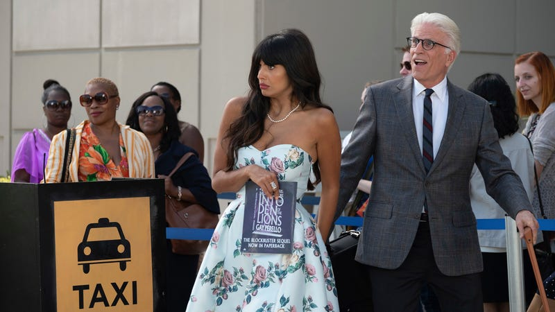 Jameela Jamil and Ted Danson in The Good Place