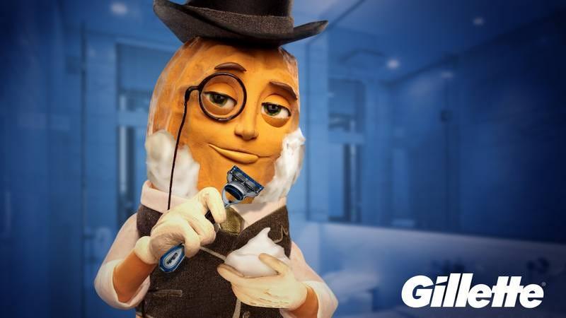 Mr. Peanut shaving.