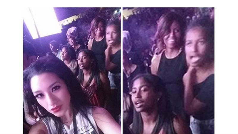 Illustration for article titled Michelle, Malia and Sasha Obama Caught in Selfie at Beyoncé Show