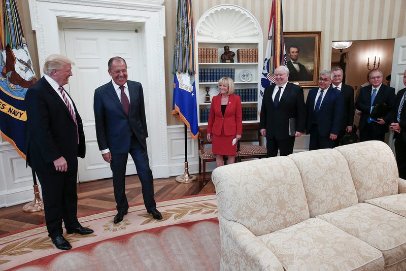President Trump in the Oval Office with Russian Foreign Minister Sergey Lavrov and Russian ambassador to the US Sergey Kislyak and unnamed staff on Wednesday, May 10, 2017 (Russian Foreign Ministry/ Flickr)