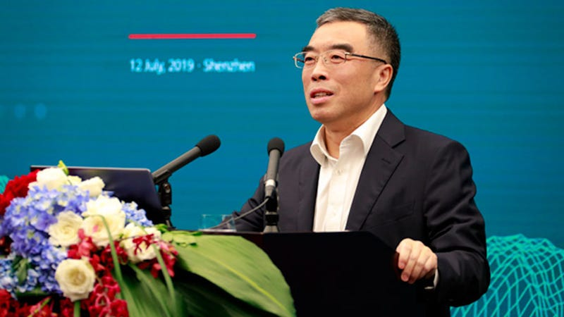 Huawei leader Liang Hua at a press conference in Shenzhen, China July 12, 2019