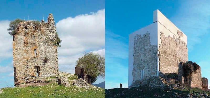La restauración del castillo de Matrera, antes y después. Imagen: Leandro Cabello / Carquero Arquitectura